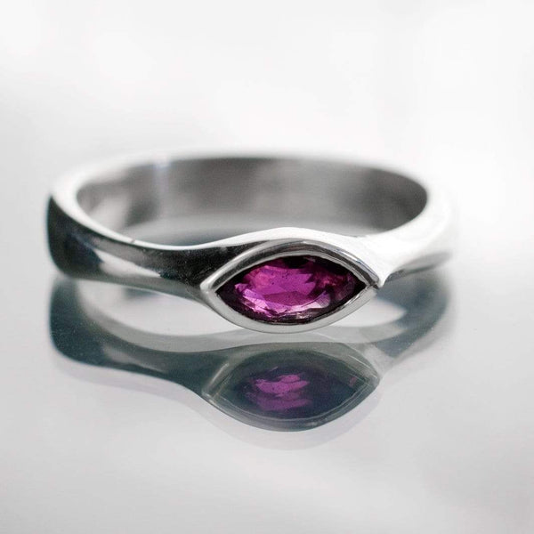 Marquise Ruby Bezel Solitaire Engagement Ring - by Nodeform
