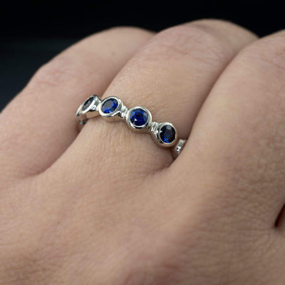 Blue Sapphire Half Eternity Anniversary Ring or Wedding Ring - by Nodeform