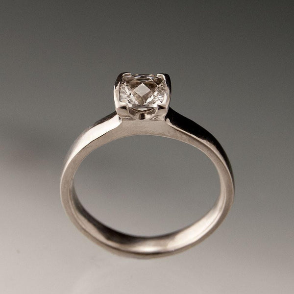 Lab Created Cushion White Sapphire Half Bezel Solitaire Engagement Ring