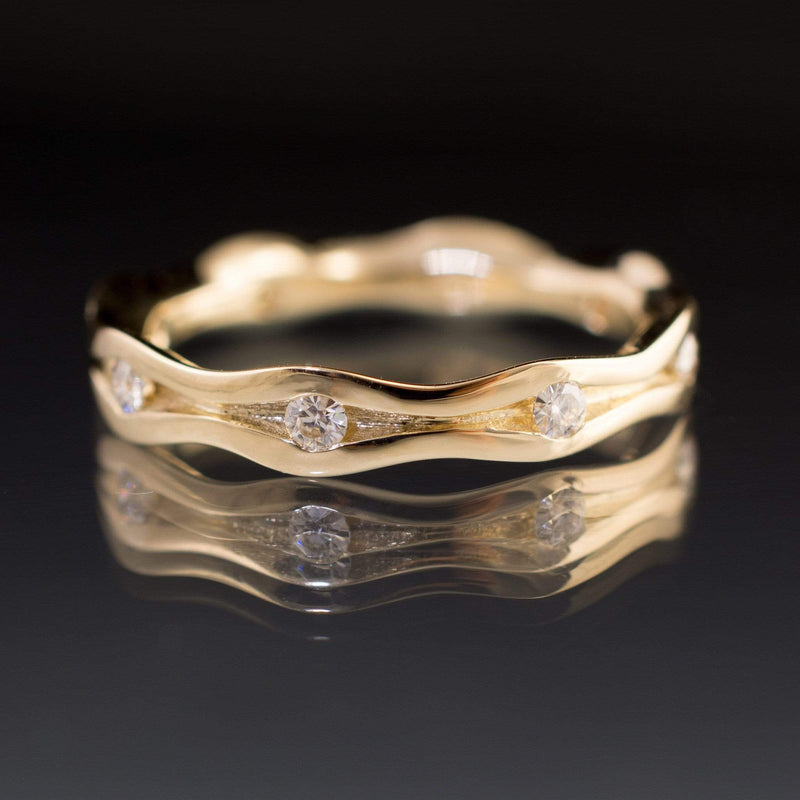 Wave Moissanite Eternity Gold Wedding Ring