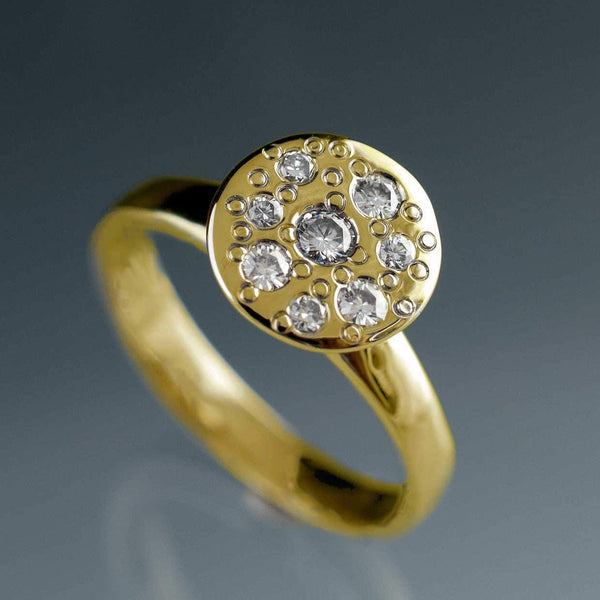 Moissanite Star Dust Gold Engagement Ring - by Nodeform