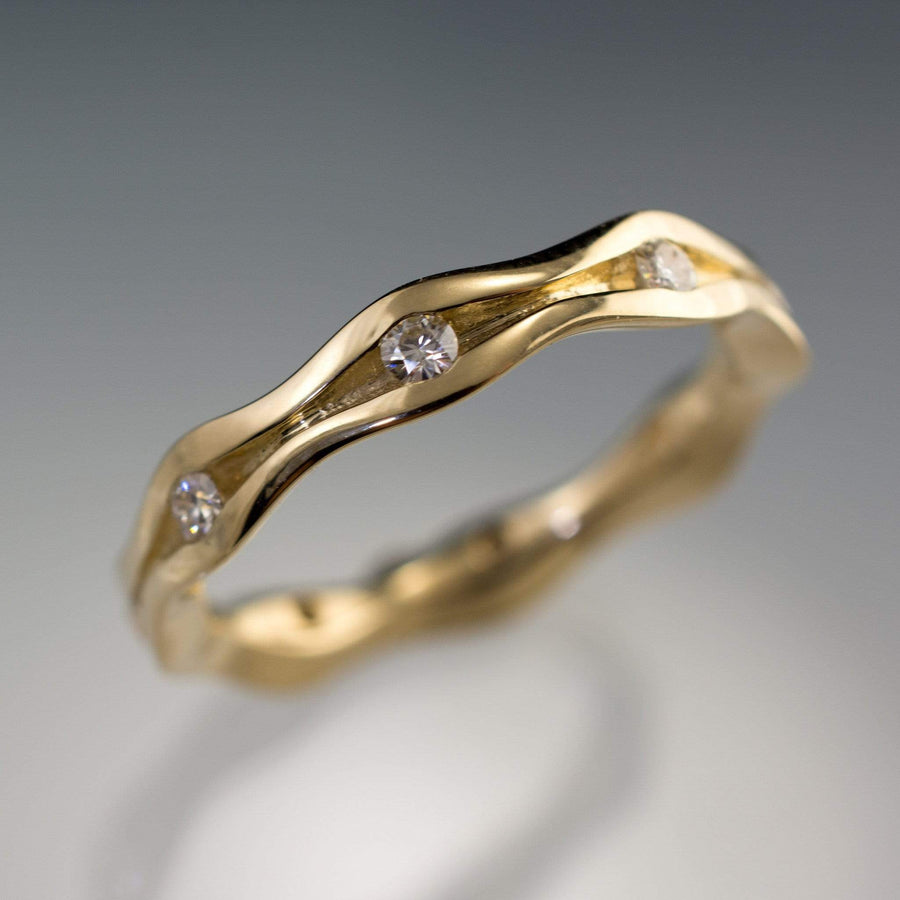 Wave Diamond Eternity Gold Wedding Ring - by Nodeform