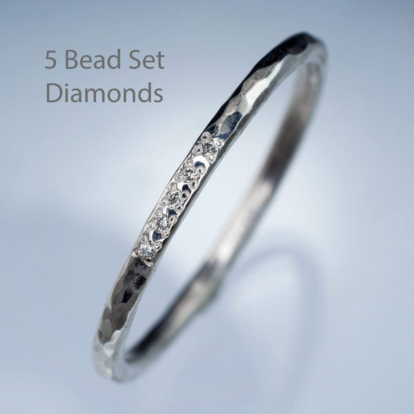 skinny diamond bead set hammered wedding ring