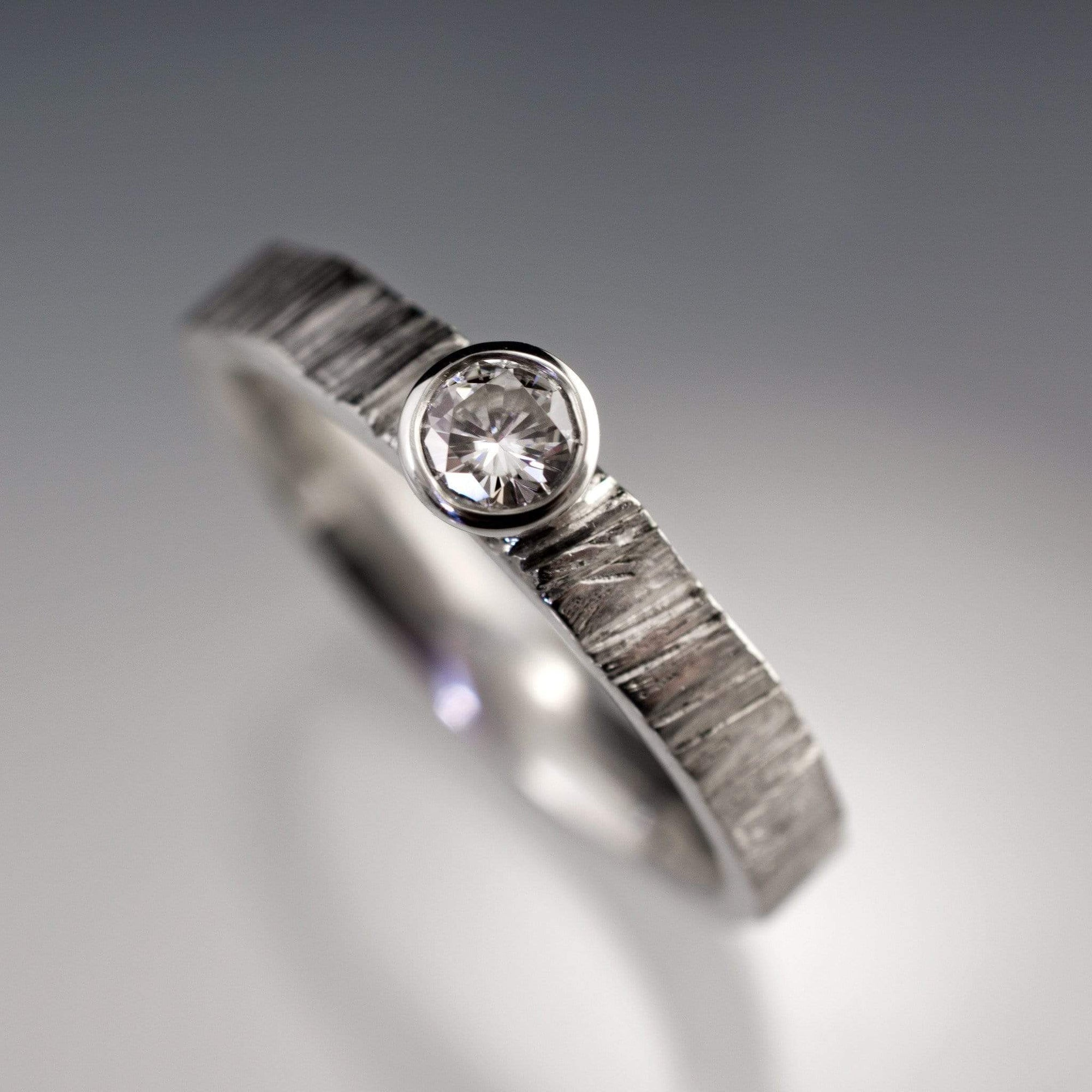 Diamond Round Bezel Set Saw Cut Textured Solitaire Engagement Ring