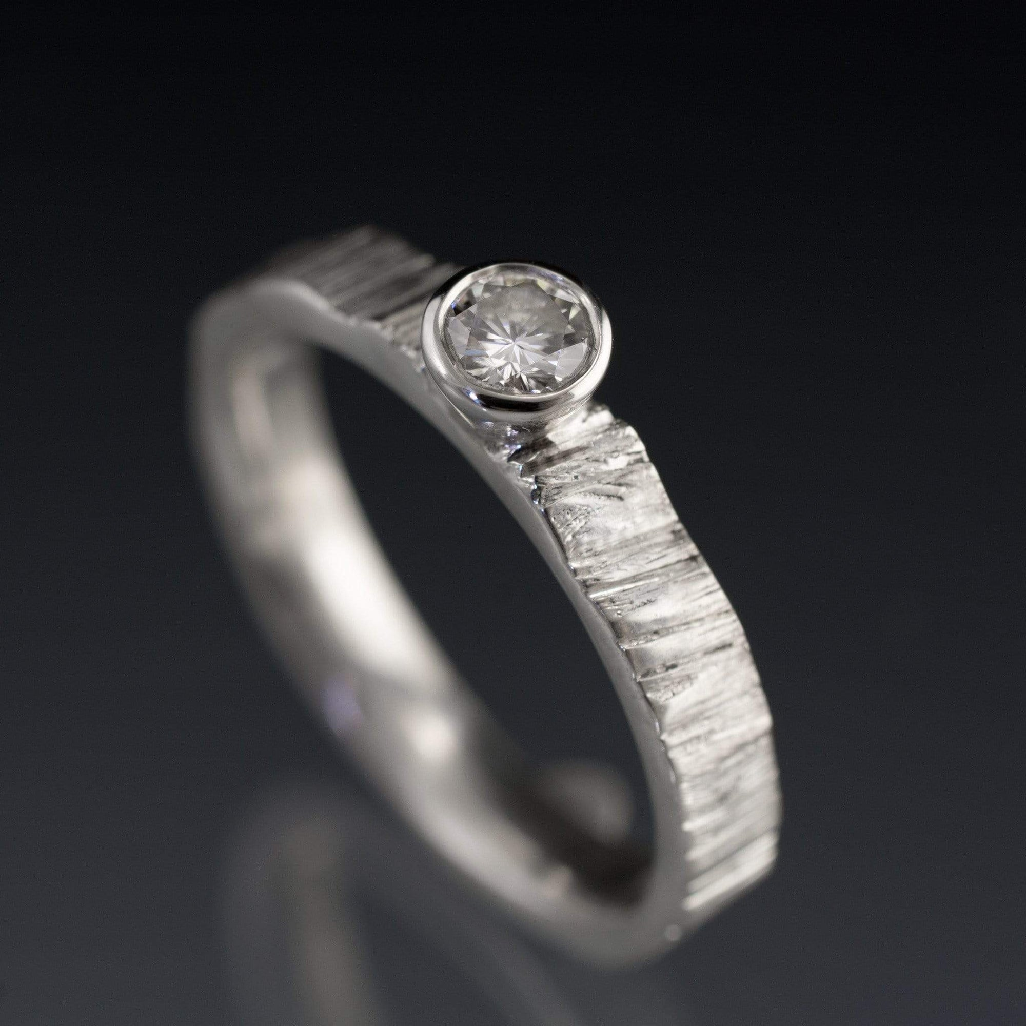 Moissanite Round Bezel Set Saw Cut Textured Solitaire Wedding or Engagement Ring