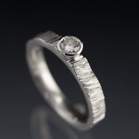 Moissanite Round Bezel Set Saw Cut Textured Wedding or Engagement Ring - by Nodeform