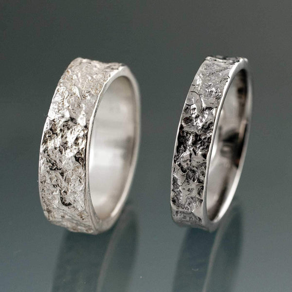 Bush-hammered Marble Texture Wedding Band