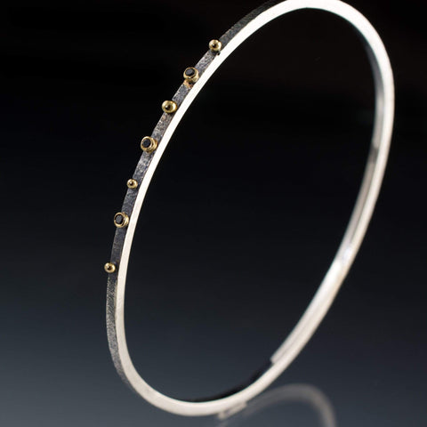 Black Diamond Bracelet Textured Sterling Silver Bangle 18k Gold Accents - by Nodeform