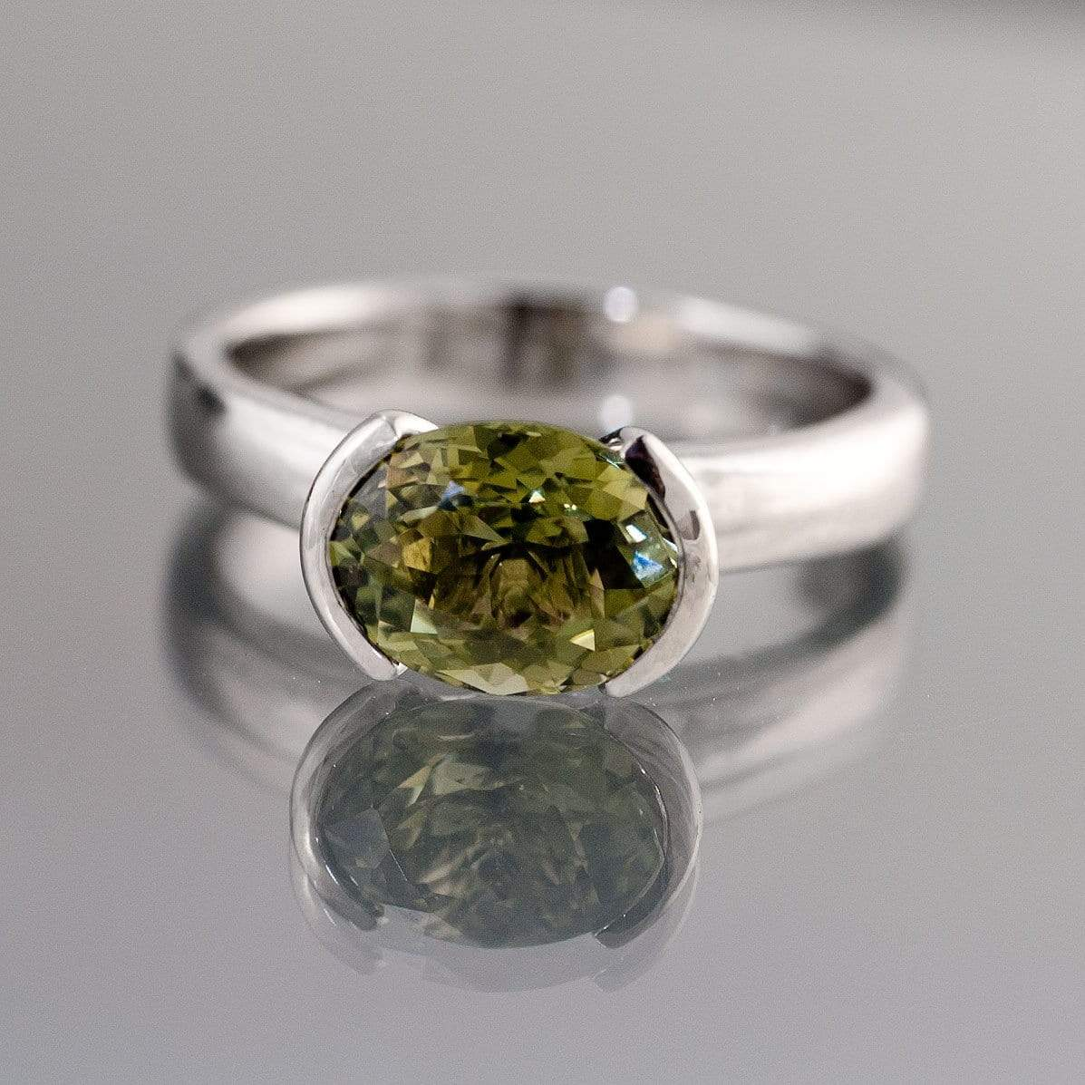 Oval Green Tourmaline Half Bezel Solitaire Engagement Ring - by Nodeform