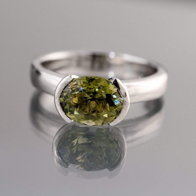 Oval Green Tourmaline Half Bezel Solitaire Engagement Ring