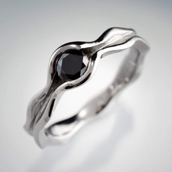 Wave Black Diamond Engagement Ring Bridal Set - by Nodeform