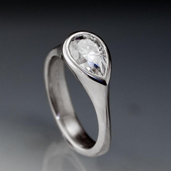 Pear Moissanite Tear Drop Bezel Solitaire Engagement Ring - by Nodeform