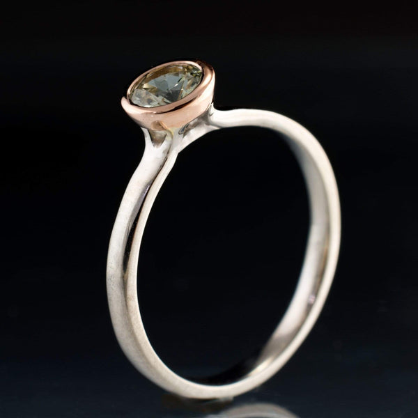 Mixed Metal Fair Trade Cream to Pale Green Montana Sapphire Engagement Ring - by Nodeform