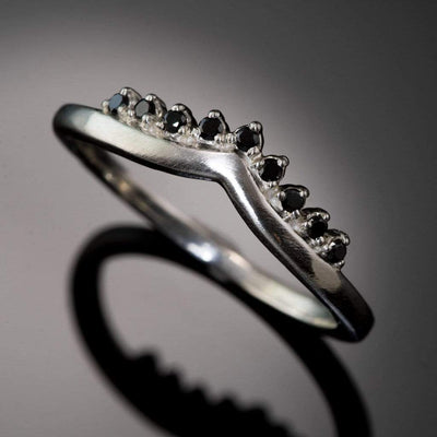 Black Diamond Valerie Band - V-Shape Contoured Accented Black Diamond Wedding Ring - by Nodeform