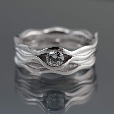 Wave Diamond Solitaire Engagement Ring
