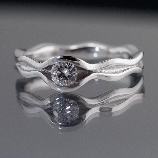 Wave Diamond Engagement Ring