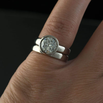 Round Moissanite Full Bezel Cathedral Band Solitaire Engagement Ring