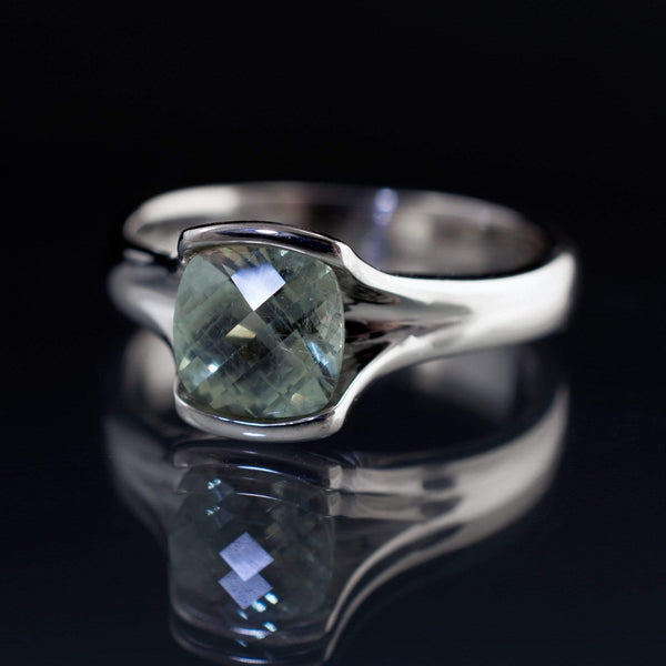 Checkerboard Cushion Fair Trade Green Sapphire Fold Engagement Ring