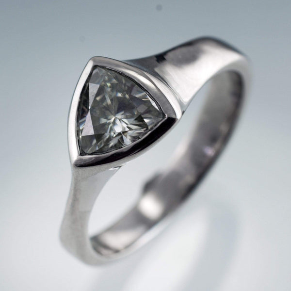 Trillion Diamond Bezel Solitaire Engagement Ring - by Nodeform
