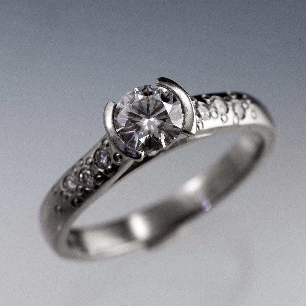 Moissanite Round Half Bezel Star Dust Engagement Ring  By Nodeform