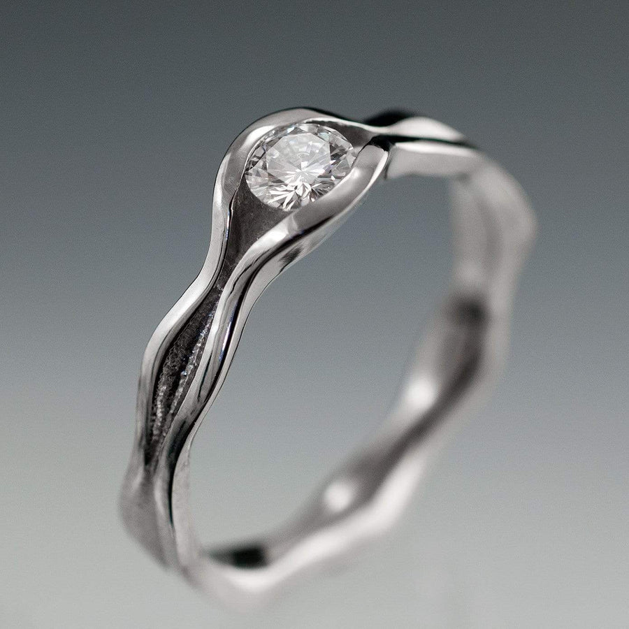 Wave Diamond Engagement Ring - by Nodeform