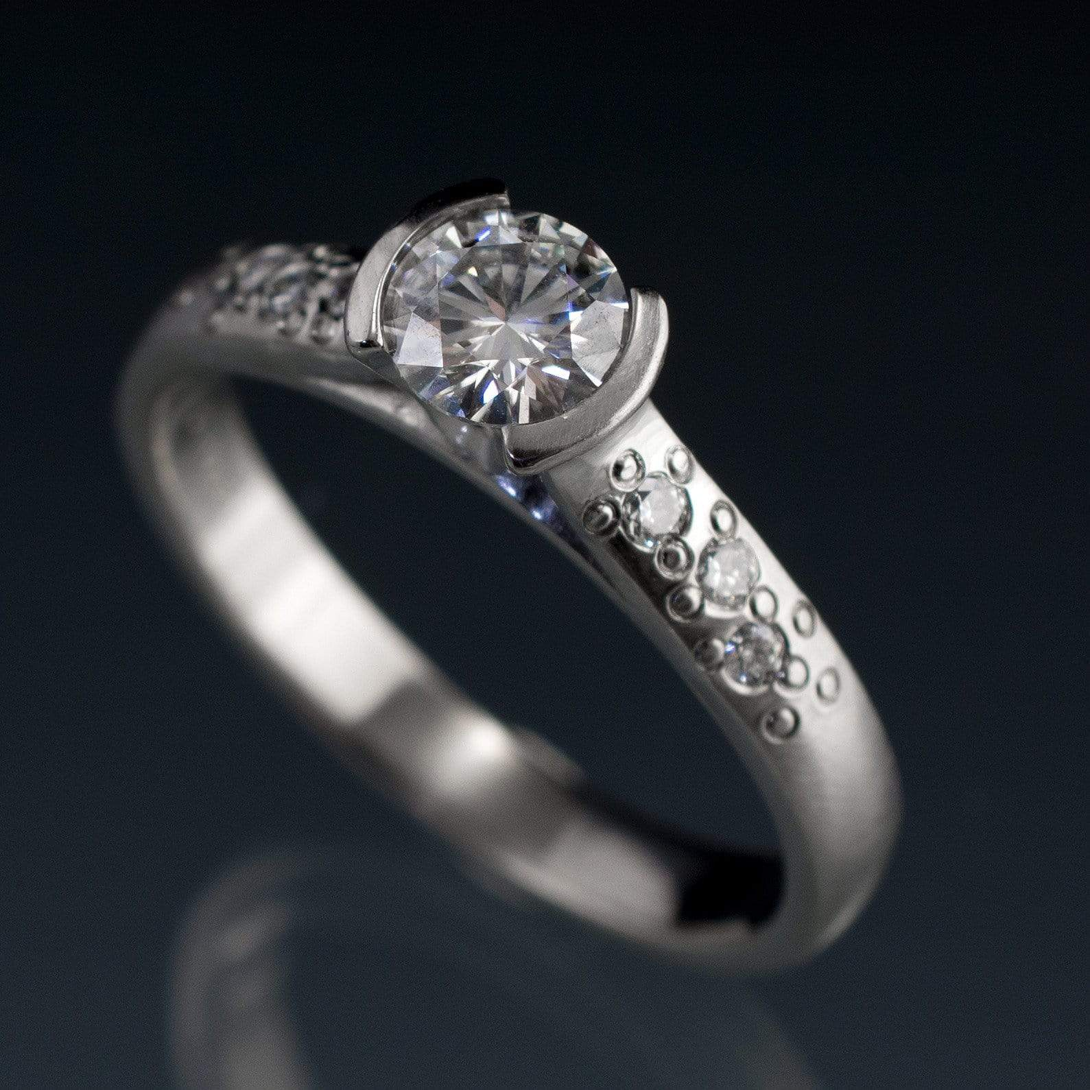 Moissanite Round Half Bezel Star Dust Engagement Ring - by Nodeform