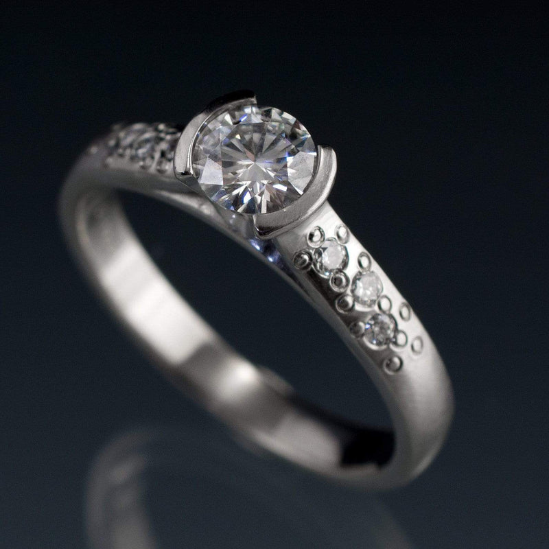 Moissanite Round Half Bezel Star Dust Engagement Ring