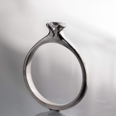 Tulip White Sapphire Half Bezel Solitaire Engagement Ring in Silver/Palladium, size 4.5-7.5