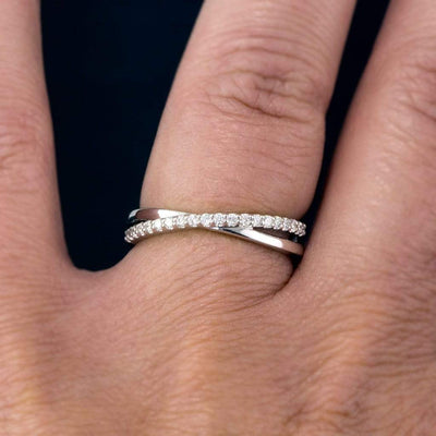 Criss Cross Band - Contoured Wedding Ring with Diamonds, Moissanites, Rubies or Sapphires