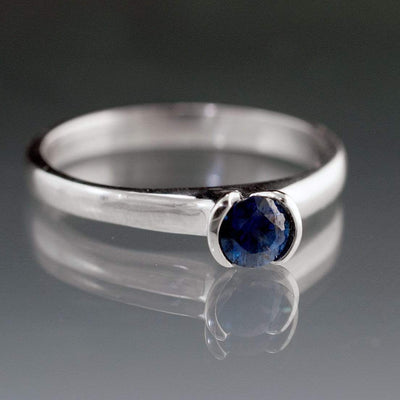 Tulip Blue Sapphire Engagement Ring, Round Half Bezel Solitaire Ring