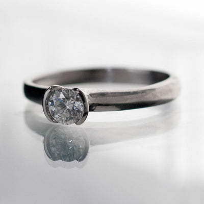 Tulip Diamond Engagement Ring, Half Bezel Solitaire Ring