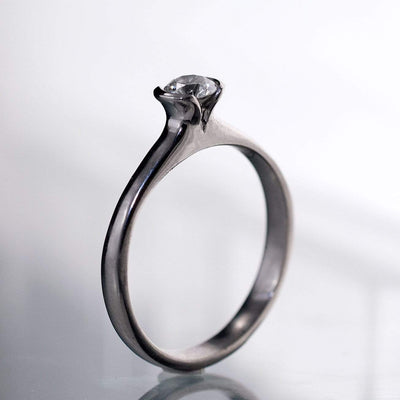 Tulip Moissanite Engagement Ring, Half Bezel Round Moissanite Ring - by Nodeform