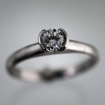 Tulip Diamond Engagement Ring, Half Bezel Round Diamond Ring - by Nodeform