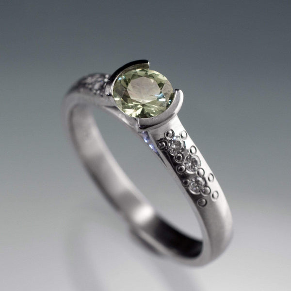 Fair Trade Creamy White to Pale Green Montana Sapphire Half Bezel Diamond Star Dust Engagement Ring - by Nodeform
