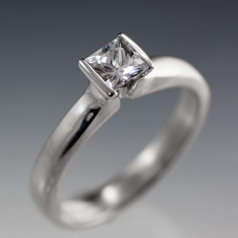 Princess Cut White Sapphire Modified Tension Solitaire Engagement Ring