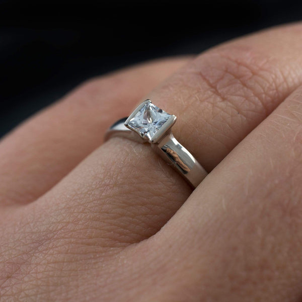 Princess Cut Moissanite Modified Tension Solitaire Engagement Ring - by Nodeform