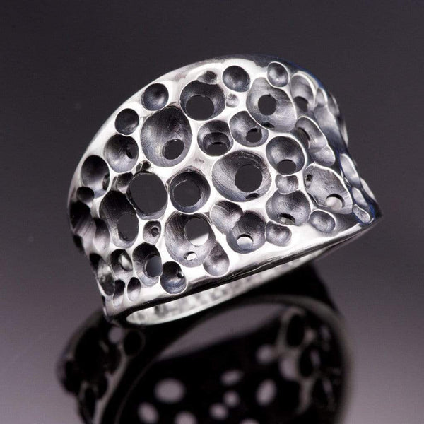 Tapered Sponge Wide Sterling Silver Ring - by Nodeform