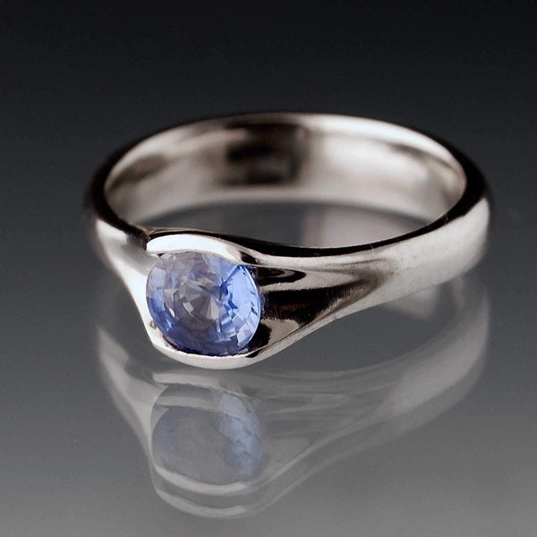 Round Blue Sapphire Fold Solitaire Engagement Ring