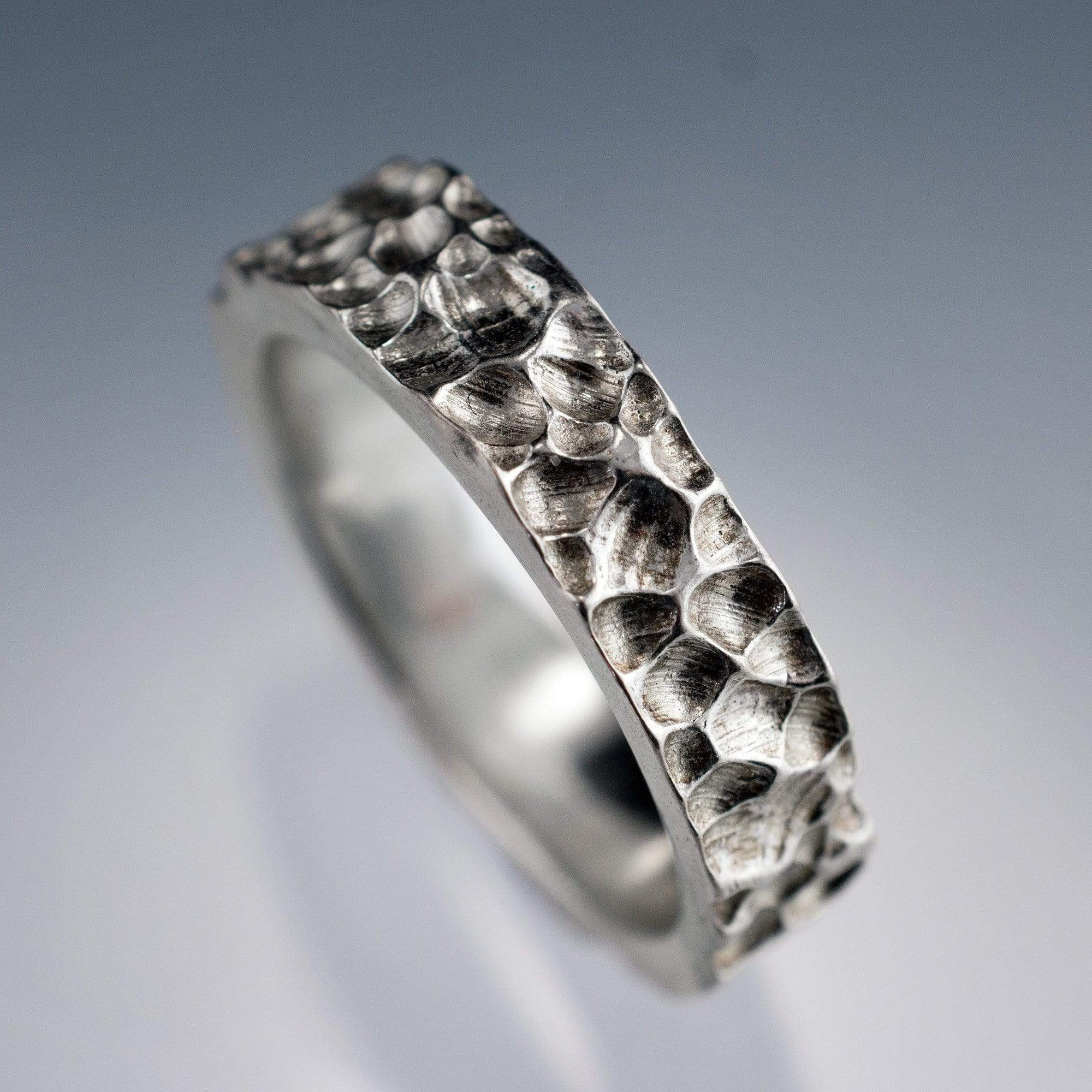 Crater Texture Wedding Ring Rustic Wedding Band - by Nodeform