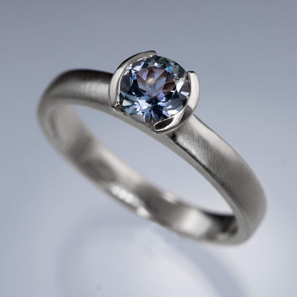 Blue Tanzanite Half Bezel Solitaire Engagement Ring - by Nodeform
