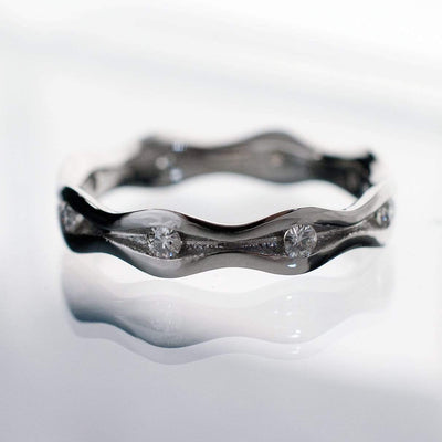 Wave Diamond Eternity Wedding Ring