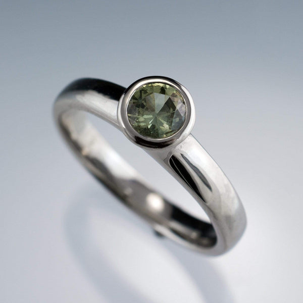 Cream to Pale Green Fair Trade Montana Sapphire Bezel Solitaire Engagement Ring - by Nodeform