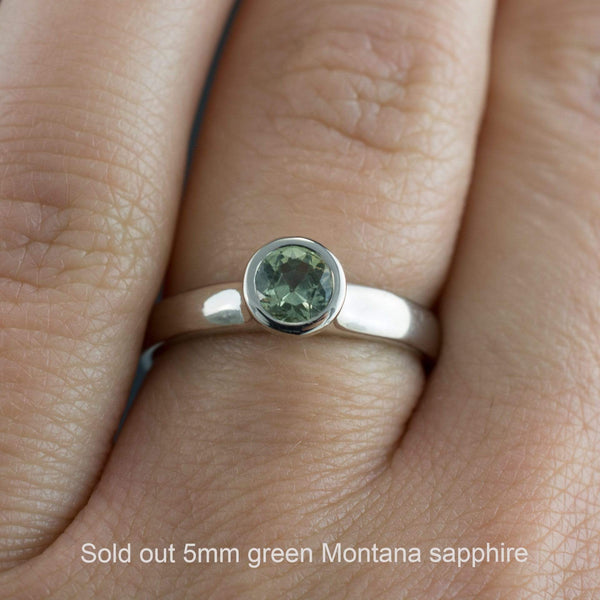 Cream to Pale Green Fair Trade Montana Sapphire Bezel Solitaire Engagement Ring
