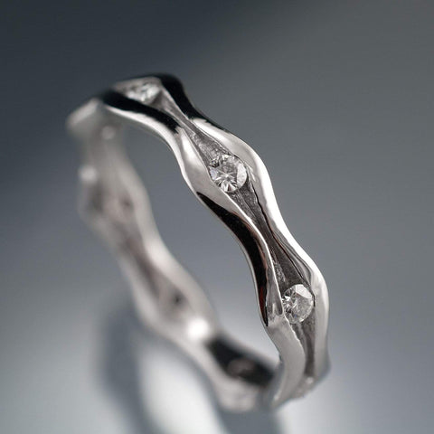 Wave Diamond Eternity Wedding Ring - by Nodeform