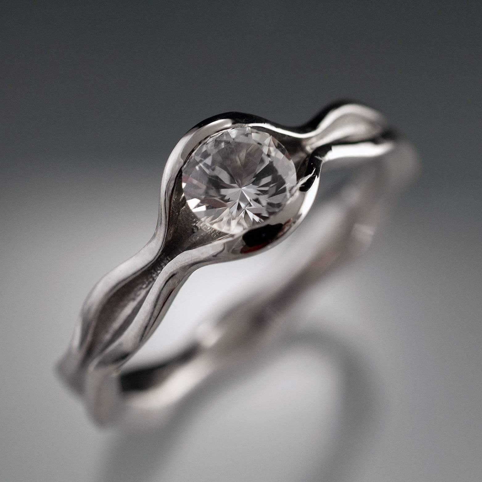 Wave White Sapphire Solitaire Engagement Ring