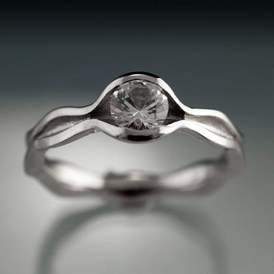 Wave White Sapphire Engagement Ring - by Nodeform