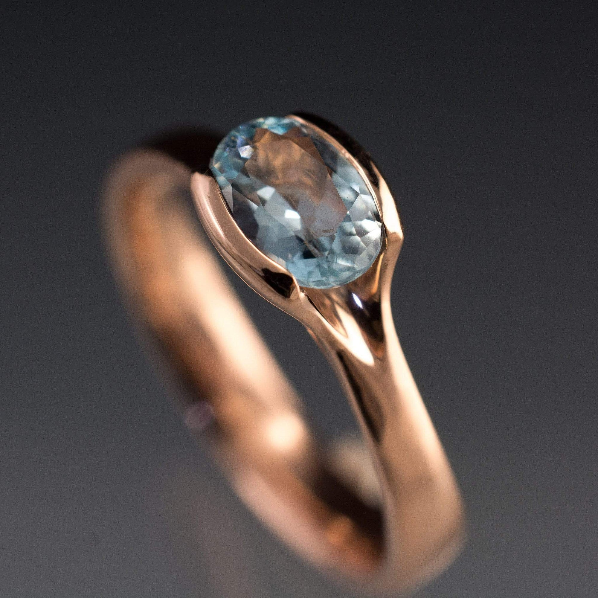 Oval Aquamarine Fold Solitaire Engagement Ring - by Nodeform
