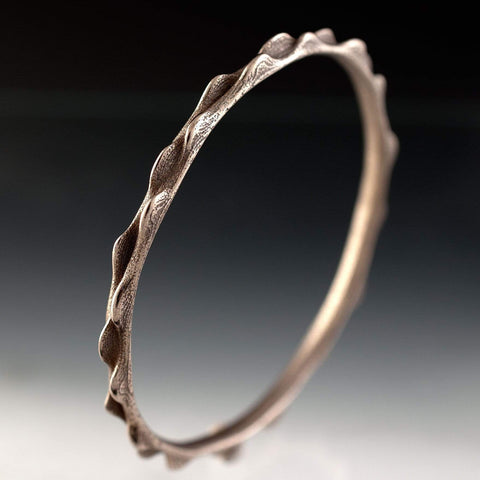 Bumpy Stainless Steel Bracelet Bangle 3D Printed Design, Ready to Ship - by Nodeform