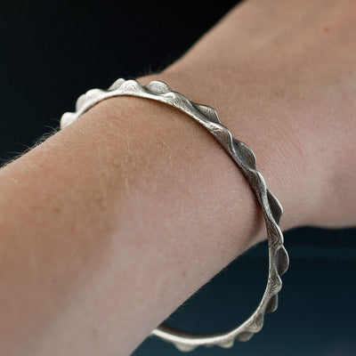 Bumpy Stainless Steel Bracelet Bangle 3D Printed Design - by Nodeform