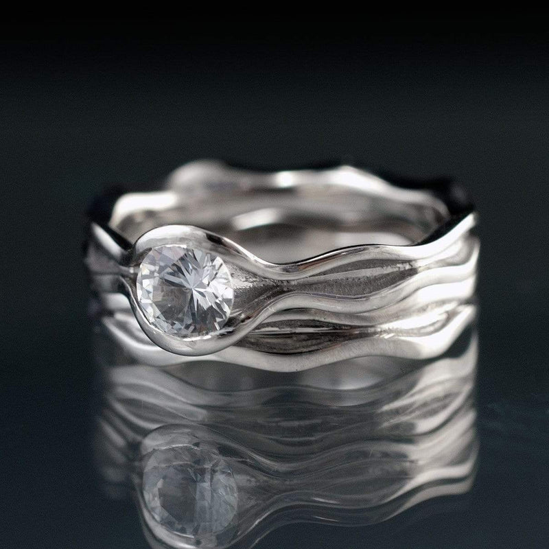 Wave White Sapphire Ring Bridal Set - by Nodeform